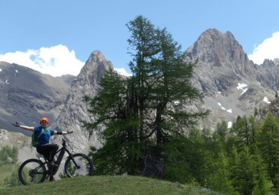 electric mountain bike course in the southern Alps